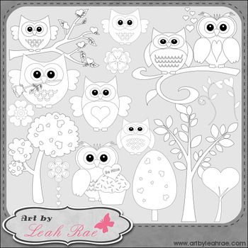 Sweethoots 1 - Art by Leah Rae Clip Art & Line Art / Digital Stamps