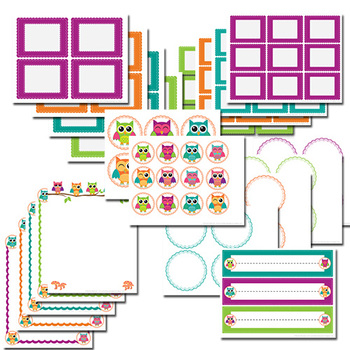 Letterhead, labels and clip art - Cutie Owls Theme