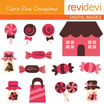 Sweets and candy shoppe clipart - Choco Pink Candyland