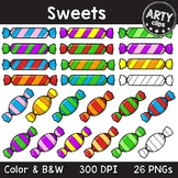 Sweets clipart (color + black & white) 26 PNG {Arty Clips}