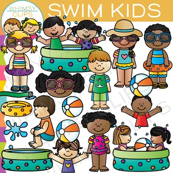 Kids Swimming in the Summer Clip Art