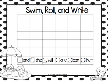 Swim, Roll, and Write:  NO PREP Pool Party Themed Sight Word Game