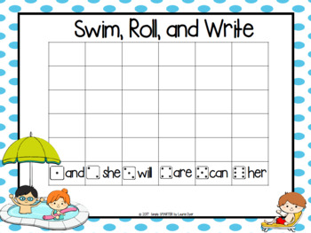 NO PREP Pool Party Themed Sight Word Game