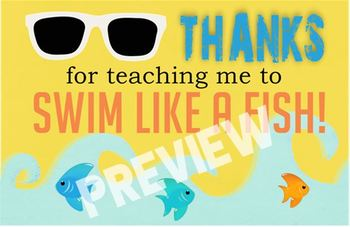 Swim Teacher Appreciation Gift Tags (printable, fish)