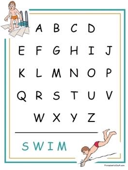 Swim Team:  Alphabet Order activity set