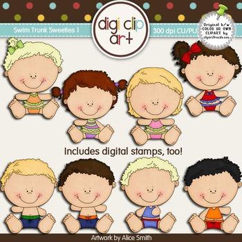 Swim Trunk Sweeties 1 -  Digi Clip Art/Digital Stamps - CU Clip Art