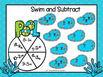 Swim and Subtract:  NO PREP Pool Party Themed Spin and Cover Game