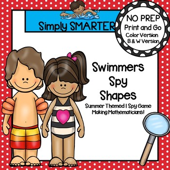 Swimmers Spy Shapes:  NO PREP Summer Themed I Spy Flat Shapes Game