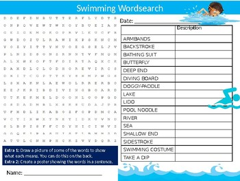 Swimming #2 Wordsearch Sheet Starter Activity Keywords Cover Sport PE