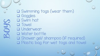 Swimming Checklist for Independence getting prepared School Swimming Lessons