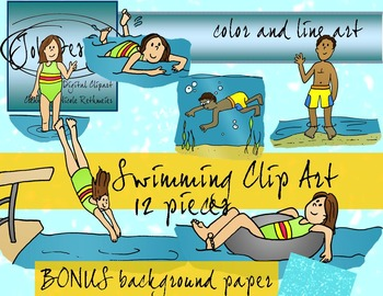 Swimming Clip Art and Digital Paper - Color and Line Art 13 pc set