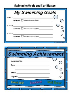 Swimming Goals and Certificate