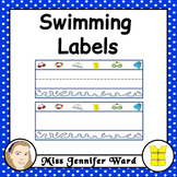 Swimming Theme Labels