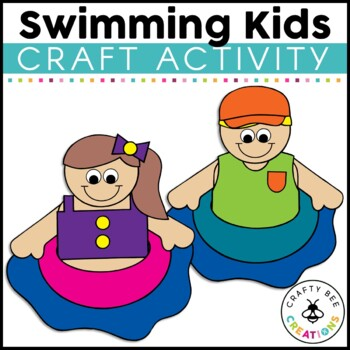 Swimming Kids Cut and Paste