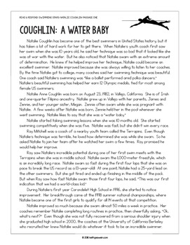Swimming Paired Texts: Missy Franklin and Natalie Coughlin: Nonfiction Passages