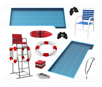 Swimming Pool Clip Art - Lifeguard Digital Graphics
