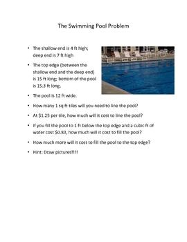 Free basic math computation resources lesson plans - Volume of a swimming pool formula ...