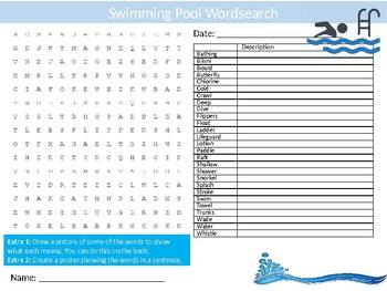 Swimming Pool Wordsearch Sheet Starter Activity Keywords Cover PE Sports