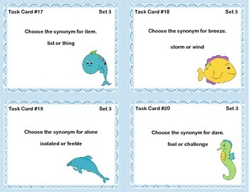 Swimming With Synonyms Task Cards