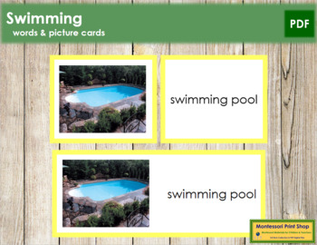 Swimming: Words and Picture Cards