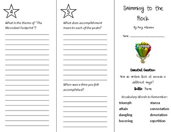 Swimming to the Rock Trifold - Wonders 4th Grade Unit 4 Week 5