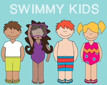 Swimmy Kids Clipart Freebie! {Commercial and Personal Use!}
