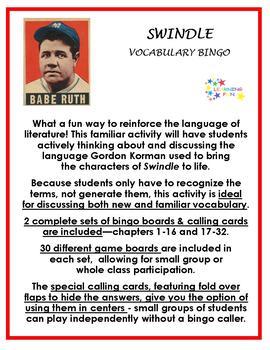 Swindle Vocabulary Bingo
