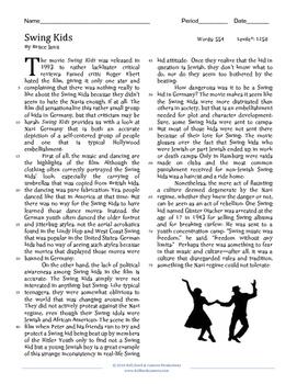 Swing Heil: Jazz, Swing Kids and Nazi Culture--A Mini Unit