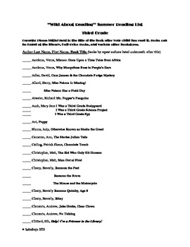 Swing Into Reading- Summer Reading List