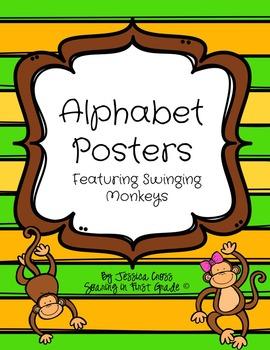 Swinging Monkey Alphabet Posters
