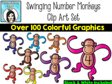 Swinging Rainbow Number Monkeys Clip Art Set