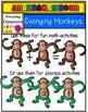 Swinging Number Monkeys Clip Art Set