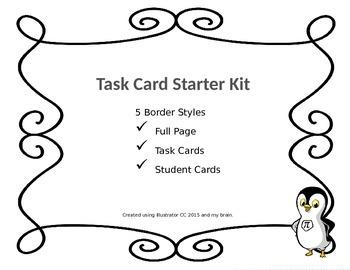 Swirl (1) Task Card Starter Kit! 5 Different Borders}