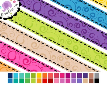 Swirl Digital Ribbon Borders