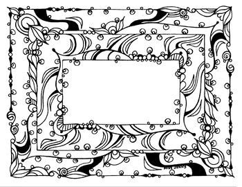 Swirl Frame. Self Portrait. My Hero Portrait Drawing Page.  Coloring Page