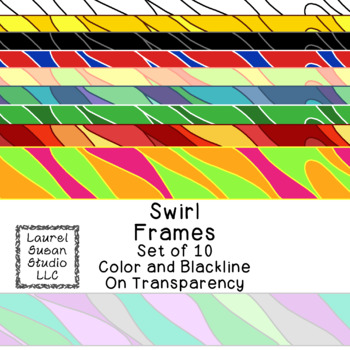 Swirl Frames Clip Art PNG JPG Blackline Included Commercial or Personal