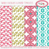 Swirl pattern overlays, paper templates, PNG and PSD layer