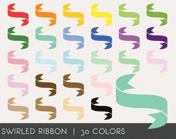 Swirled Ribbon Digital Clipart, Swirled Ribbon Graphics, Swirled Ribbon PNG