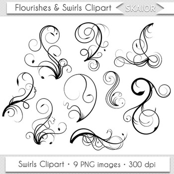 Swirls Clip Art Flourish Clipart Floral Ornaments Invitations