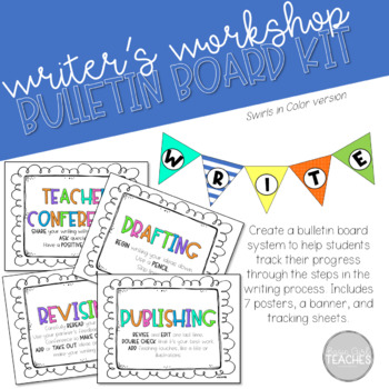 Writing Process/Writer's Workshop Posters *Swirls in Color Theme*