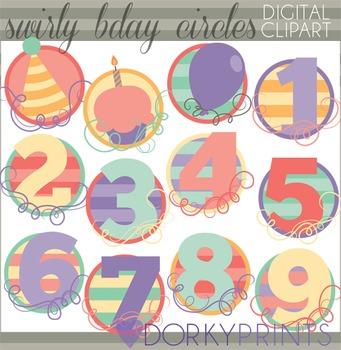 Swirly Birthday Numbers Digital Clip Art