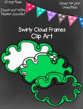 Swirly Cloud Frames- Black and White Master Included!