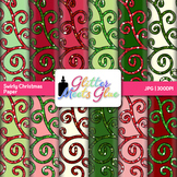 Swirly Christmas Clip Art Paper {Scrapbook Backgrounds for