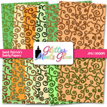 Saint Patrick's Swirly Paper {Scrapbook Backgrounds for Task Cards & Brag Tags}