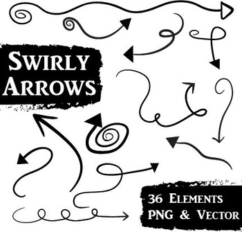 Swirly Doodle Arrows Clip Art - 36 PNG and EPS Vector Images