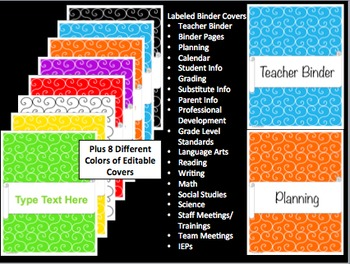 Editable Teacher Binder and Organizer - Swirly