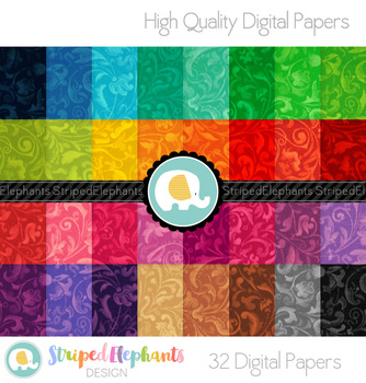 Swirly Floral Digital Papers