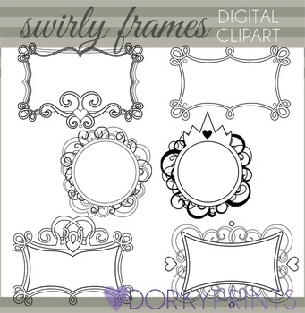 Swirly Frames Black Line Clip Art
