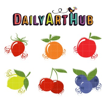 Swirly Fruits Clip Art - Great for Art Class Projects!