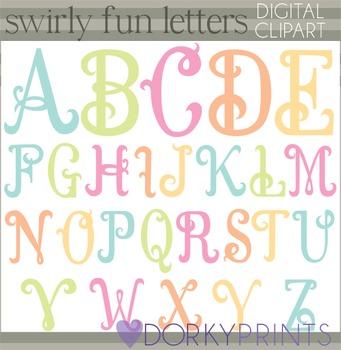 Swirly Fun Alphabet Clip Art